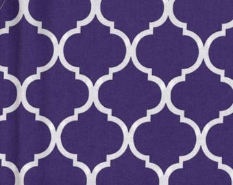 Quatrefoil Fabric White on Deep Purple 100% Cotton