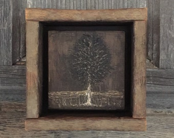 Rustic Wall Art, Hand Engraved Wood, Primitive Home Decor, Shelf Mantle Art, Neutral, Country, Cabin, Camp, Lodge, Gift, Tree, Landscape