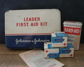 Vintage Johnson & Johnson Leader First Aid Kit with Metal Bandaid Tin
