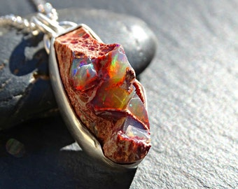 raw fire opal necklace silver, raw crystal necklace, rough crystal pendant men, raw opal necklace for men, genuine Mexican fire opal pendant