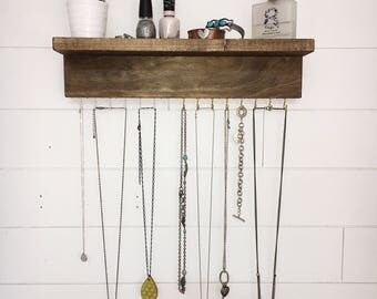 Wall Jewelry organizer With Shelf, Necklace Holder