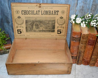 Antique French Wooden Chocolate Box Lombart Chocolat Crown Laurel Wreath