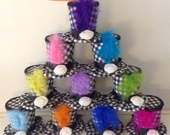 """Special! Set of 10 Mad Hatter Tea Party Decorations - Black & White Checkered Hats, Alice in Wonderland Birthday, Shower Favors (3.5"""" Tall)"""