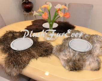 New Fur PLACEMATS or Centerpieces Plush Faux Fur Table Mats Wedding Gifts House Warming Party Dining Plate Mats Wedding Reception Decor