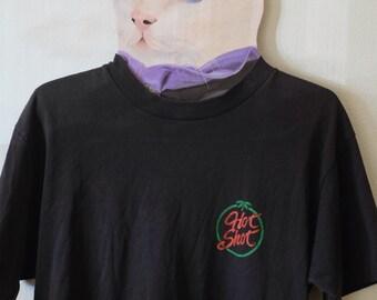 Vintage Faded Black Hot Shot Logo T shirt made in USA