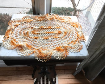 """Vintage Crocheted Doily,Orange and Cream Oval Centerpiece,22"""" x 15"""",Cottage Chic Decor,Vintage Linens,Halloween or Thanksgiving Table Linen"""