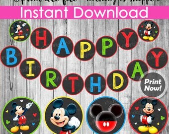 """Mickey Mouse Banner INSTANT DOWNLOAD, Printable Mickey Mouse Birthday Banner Chalkboard, Mickey Mouse Party Decorations, 5"""" Circles Garland"""