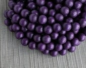 15mm Eggplant Aubergine Purple Round Wood Beads - Dyed and Waxed - 15 inch strand