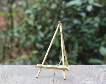 Small Vintage Gold Easel / Small Display Easel / Small Art Display / Small Photo Display / Small Book Display / Tiny Vintage Gold Easel