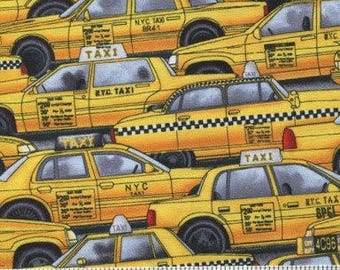 Closing Sale BTHY Timeless Treasures New York City Taxi Cab Taxicabs Rare Oop Fabric Very Cute by the half yard
