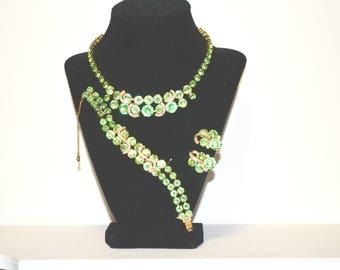Vintage Eisenberg Green Rhinestone Necklace Bracelet Earring Demi