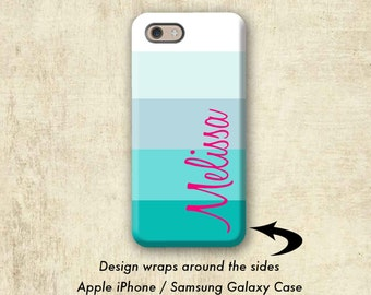 Personalized Blue Stripe iPhone 7 Case , iPhone 7 Plus Case , iPhone 6 Case  , iPhone 6s Plus Case, iPhone 6S , Galaxy S8 Case