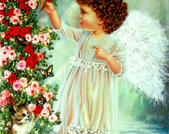 silk ribbon embroidery Angel Embroidery silk ribbons Handmade