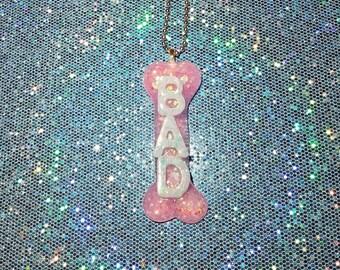 BAD to the BONE ~ Pastel Pink & Blue Bone Pendant  ~ Decora Harajuku Alternative Fashion - Kawaii Cute Pastel Goth