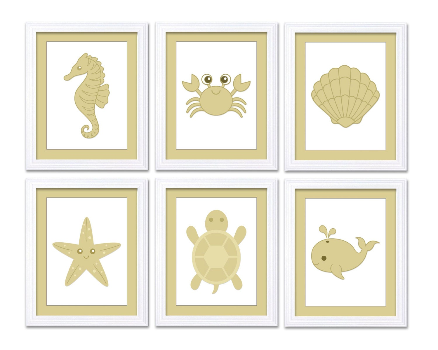 Beige Tan Sea Animals Nursery Art Nursery Print Child Baby Prints Set of 6 Seashell Whale Starfish S