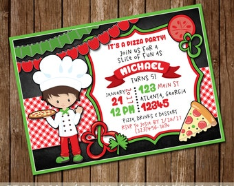 Pizza Party Invitation - Girl or Boy's Pizza Birthday Invite - Pizza & Pajamas - Make a Pizza Party - Pizza Chef - 5x7 - Digital Download