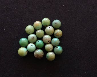 Vintage Green Turquoise 13 and 14mm Rounds Lot