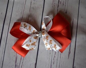 Red Reindeer Christmas Hair Bow