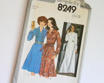 SIZE 14 8249 Simplicity Women's Dress UNCUT Sewing Pattern Vintage 1970s Seventies Dressy Front Tucks Gathered Sleeves with Cuffs A-line