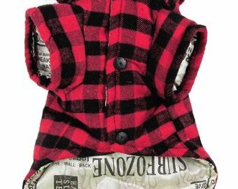 Winter Plaid Lined Dog Coat!