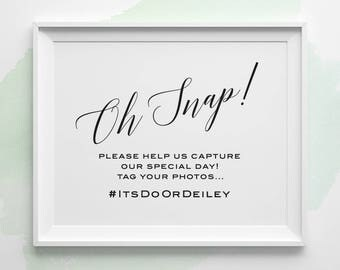 PRINTABLE Wedding Signs, Oh Snap Hashtag Sign, Wedding Instagram Sign, Black and White Modern Wedding Signs, Social Media Wedding Sign WS2BP