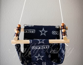 Cowboys Baby  Fabric Swing. Indoor / Outdoor Baby Todler Swing.Baby Swing Chair. Toddler Indoor Outdoor Canvas
