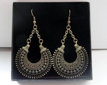 Bronze ethnic tribal earrings, Gypsy earrings, Antique bronze round hoop ethnic earrings, Ornate hoop earrings, Boho bronze earrings