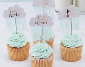 Cloud Cake Toppers, Baby Shower Cake Topper, Cloud Hello World Toppers With  Mint Fringe