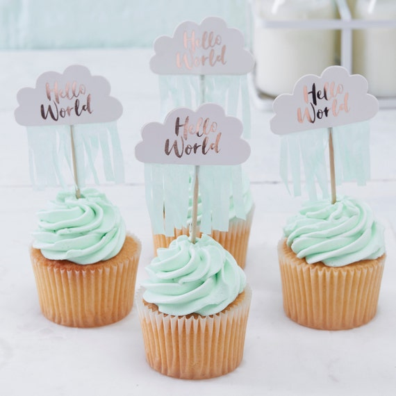 Cloud Cake Toppers, Baby Shower Cake Topper, Cloud Hello World Toppers With  Mint Fringe, Baby Shower Sweet Table, Cake, 1st Birthday, ...