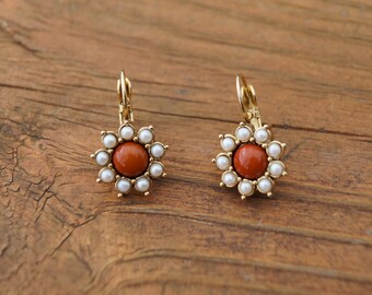 Retro Flower Pierced Earrings-Costume Jewelry-Gold Tone Settings-Orange Center Surrounded By Faux Pearls