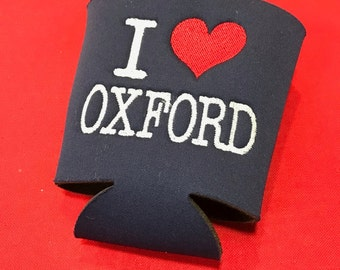 I Heart Oxford Embroidered Solo Cup Huggie
