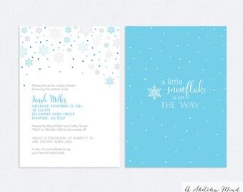 Printable Baby Boy Shower Invitations – Blue Snowflake – Baby Boy Shower – Printable Invitation PDF & JPG