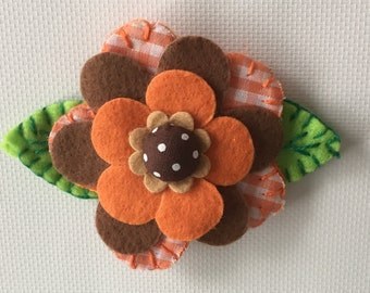 Felt Flower Hairclip, Felt Flower Barrette, Felt Flower Hair Clip, Felt Flower Clip