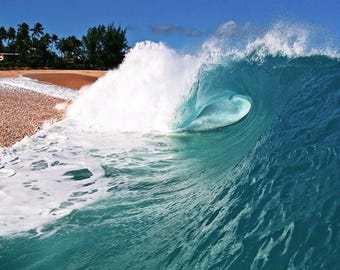 Beach Photography - Ocean Wave Surf Photo Hawaii Surfing Waves on a Beach Art Picture