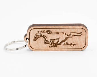 Mustang Keychain - Mustang Carved Wood Key Ring - Ford Mustang Wooden Engraved Charm