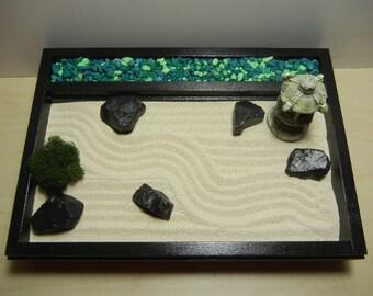 RZ01 - Small Desk Top Rock and Zen Garden with Pagoda- DIY Kit
