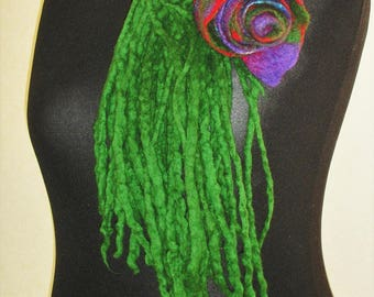 Wool felted Rose with Fringe Colorful Accessory