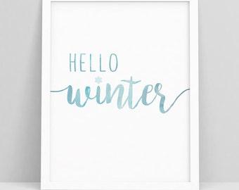 Hello Sign Decor - Hello Winter - Hello Sign - Winter - Winter Decor - Seasonal Decor - Winter Wall Art - Blue Printable Art - Digi Download