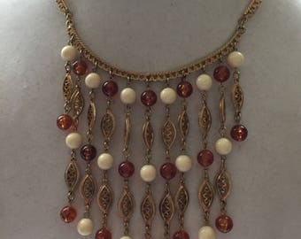 Vintage Bib Necklace with Amber and Creme Colored Beads Gold Tone