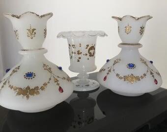 Victorian Opaline Jewelled set of 3 Vases