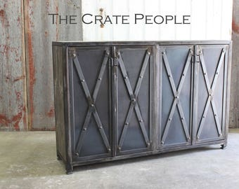 "FREE SHIPPING - ""X"" Brace Metal & Barn Wood Cabinet -- Custom Made Furniture"
