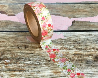 Pink and Red Roses with Gold Foil accents Washi Tape 15mm x 10m