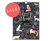 Sale - 2017 Foxes & Florals Mini Wall Calendar