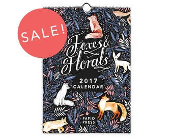 Sale - 2017 Foxes & Florals Mini Wall Calendar