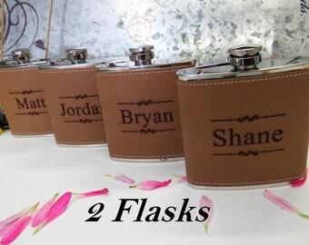 Rustic Wedding Gift | Asking Groomsman Flask | Will you be my groomsman | Cheap Wedding Gifts - Groomsmen Gift Idea - Leather Custom Flask
