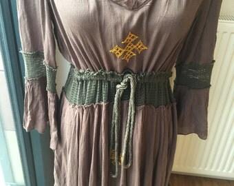 ON SALE Habesha inspired Refashioned upcyled earth toned boho dress