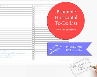 Printable To Do List | Printable Planner | Daily Checklist | Horizontal To-do List | Download | Profanity | Sarcasm