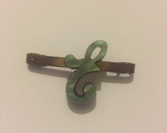 Art Deco Marbled Bakelite Initial 'E' Bar Brooch