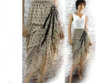 women's OOAK skirt - Women's tan skirt -  women's Upcycled  skirt -  women's long  skirt - women's Boho skirt -  Size Large  # 179