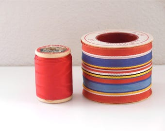 10 Yd Vintage Ribbon spools 2  Wide Grosgrain Trim Conso Washable Rayon Novelty Spool Decorative wide Trim Red Multi color Taffeta Look Sew